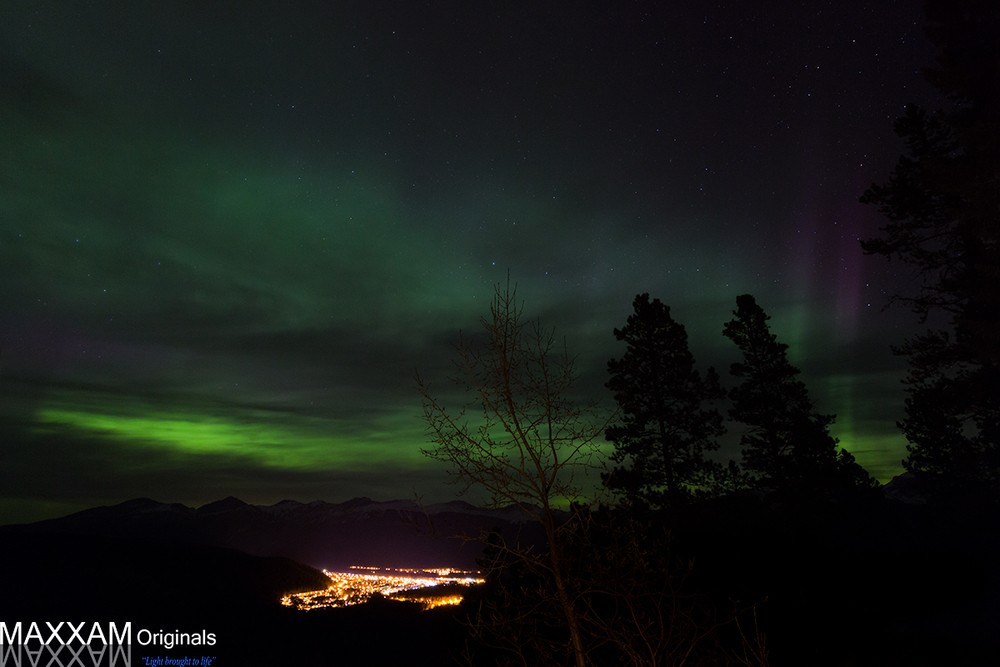 Northern Lights over the town of Jasper, Alberta.