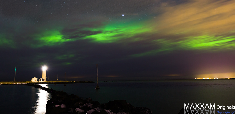 Aurora over a lighthouse