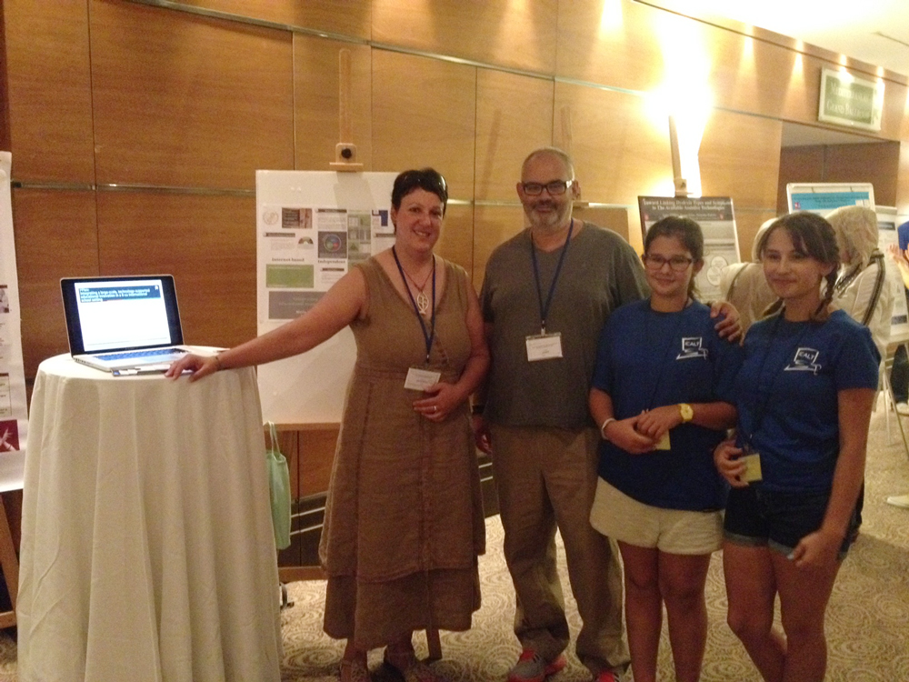 Dr. Avgerinou with the ICALT2014 co-chair Prof. D. Sampson, University of Piraeus & CERTH, and his daughters and current ACS Athens students who volunteered at the event