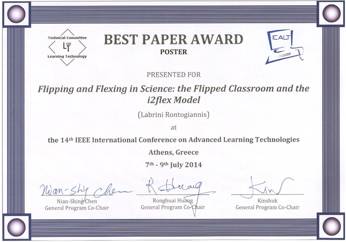 Ms. Rontogiannis' ICALT2014 award for Best Poster
