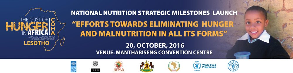 Welcome Remarks by Honourable Kimetso Mathaba Keynote Address by His Majesty King Letsie III Statement by the Scaling up Nutrition Movement Statement by H.E. DR. Mustapha S. Kaloko Commissioner for Social Affairs Remarks by the WFP Remarks by UN Resident Coordinator in Lesotho