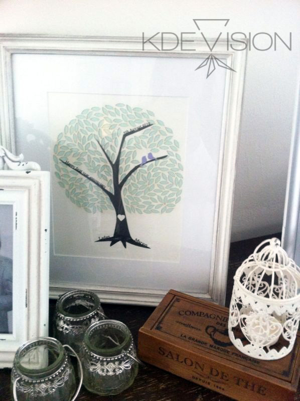 Happy customers, the finished piece taking pride of place in the Hong's home.