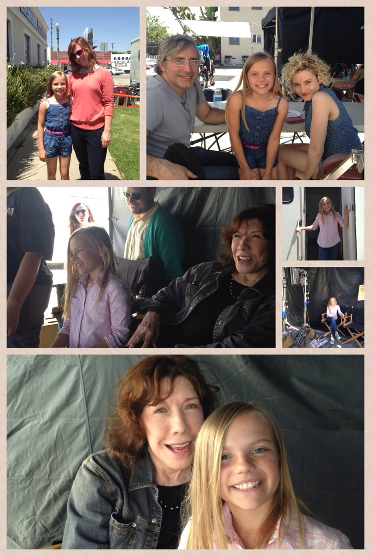 On the set of Grandma with Lily Tomlin, Julia Garner, Sarah Burns and Director Paul Weitz.