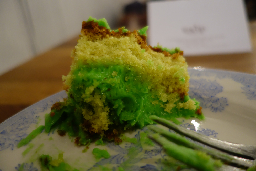 Possibly the greenest thing I've ever eaten; Pistachio syrup cake at Teacup on Thomas St.