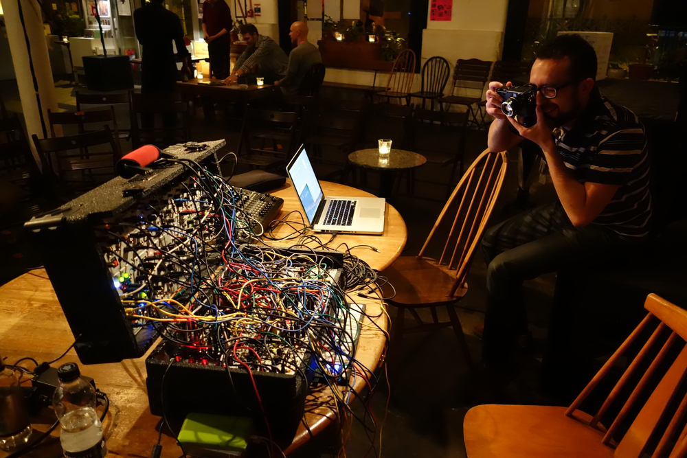 Fabio taking a photo of our setup at Cafe Oto.