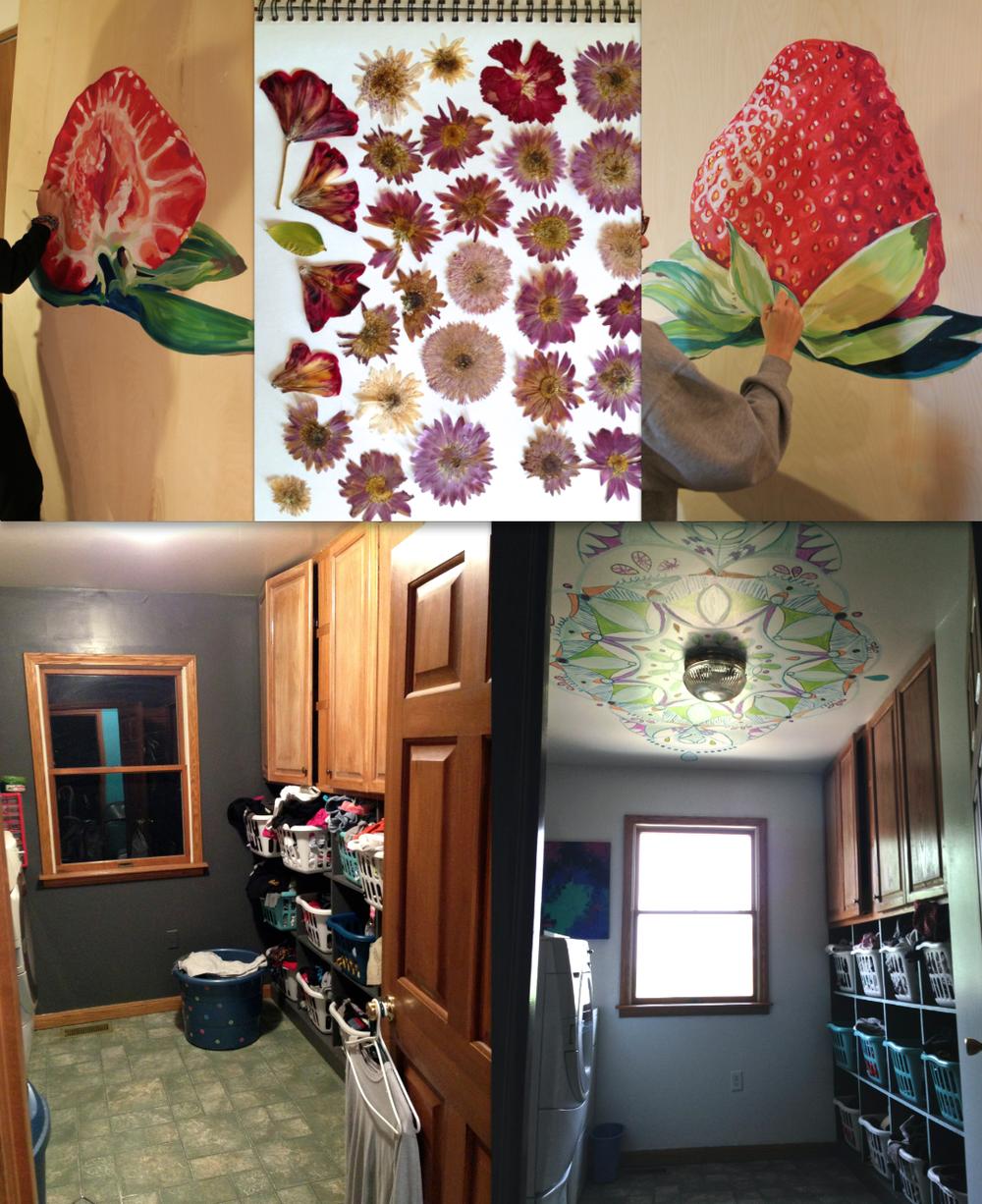 strawberries, pressed flowers, and mandalas