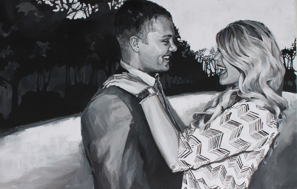 natalie and chad, 2014.   acrylic on canvas, 30x48""