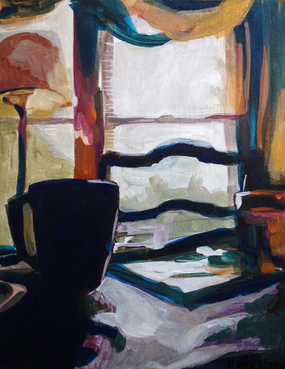 "Morning Brew - Mural Study.  Acrylic on Canvas, 11x14"" 2014"