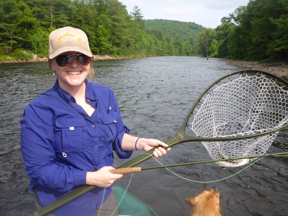 Alicia with her first rainbow...(there is also a Fallfish in the net that I hooked at the same time.
