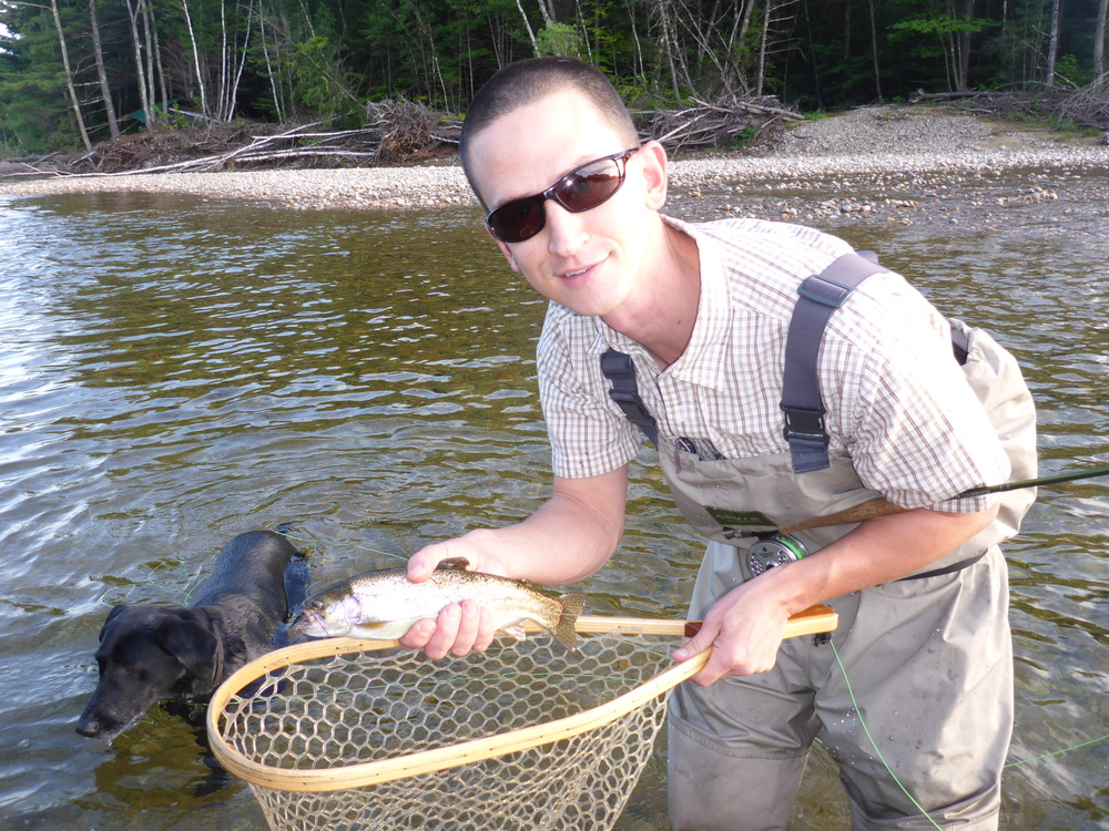 Cory Ellis with a Saco River Rainbow...the flying ant swarms are on!