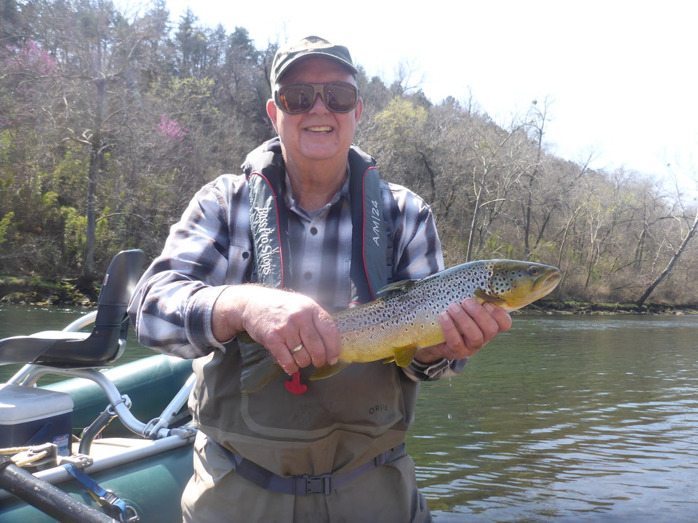 """Bob Parks with a 20"""" brown caught right above the second launch...out of the way of all of the bigger boats."""