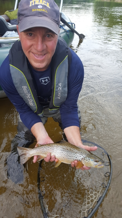 Client Garry Kolanda with a wild Saco River brown.