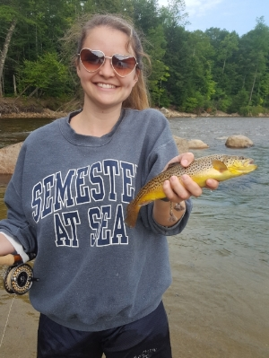 Hailey Lewis with her first Saco Brown trout