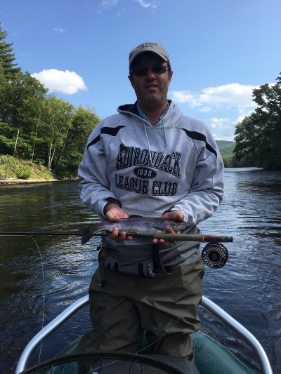 Andrew Cook of Greenland NH hooked trout all day long including this wild bow that ate an Isonychia nymph at the tailout of a pool.