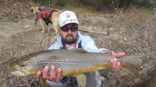 Head guide Nate Hill with an example of what patient early season streamer fishing can bring.