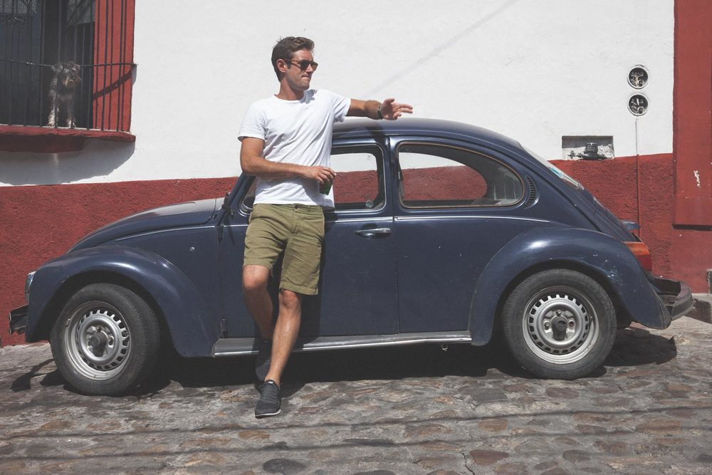My friend, Erik posing in front of the 'People's Car', Oaxaca, Mexico.