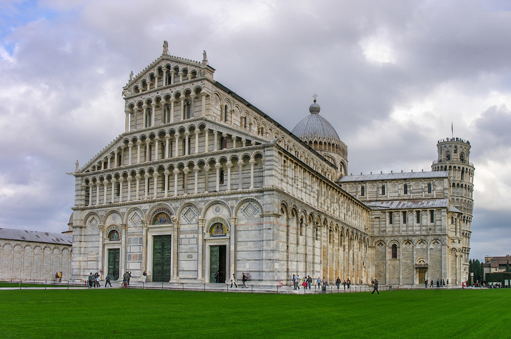 The Baptistry and Leaning Tower Pisa
