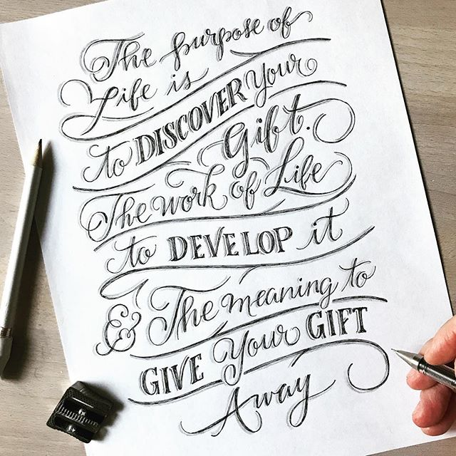 🎁 Sharing Our Gifts 🎁  I heard this quote during @designrecharge last week and it just made my week. Do you know what your gifts are? Are you honing them? Are you sharing them with the world? Discover - Develop - Give - Repeat - - Created with my 👉🏼✋🏼🤚🏼 @pilotpenusa G-TECH-C3 .0 And my trusty ✏️