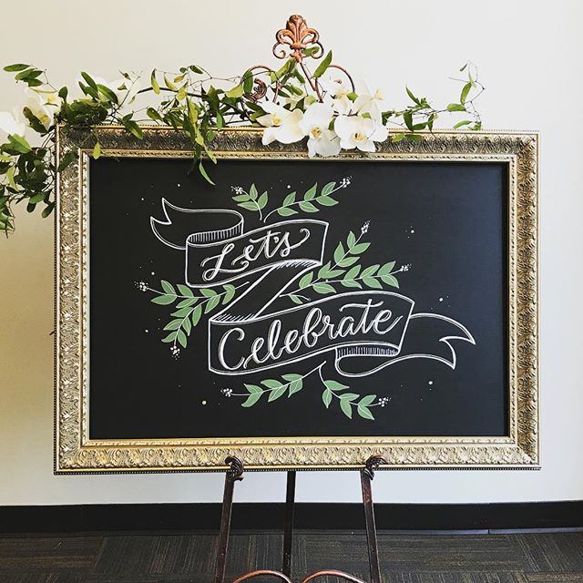 🍾Let's Celebrate!🥂Had a blast creating chalkboards for an event at @thebalconyorlando last night. Love how the florists dressed up the frame with fresh blooms too. - - Created with my 👉🏼✋🏼🤚🏼 And my trusty @versachalk pens