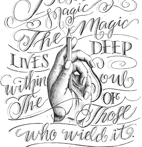 Inspirational Quote About Art Magic Lives Deep Pencil