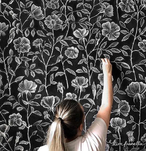 Hand Drawn Chalk Wallpaper Dog Roses Mural