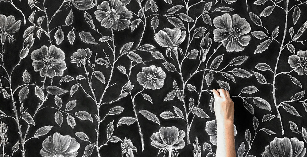 Copy of Hand Drawn Chalk Wallpaper Dog Roses Mural