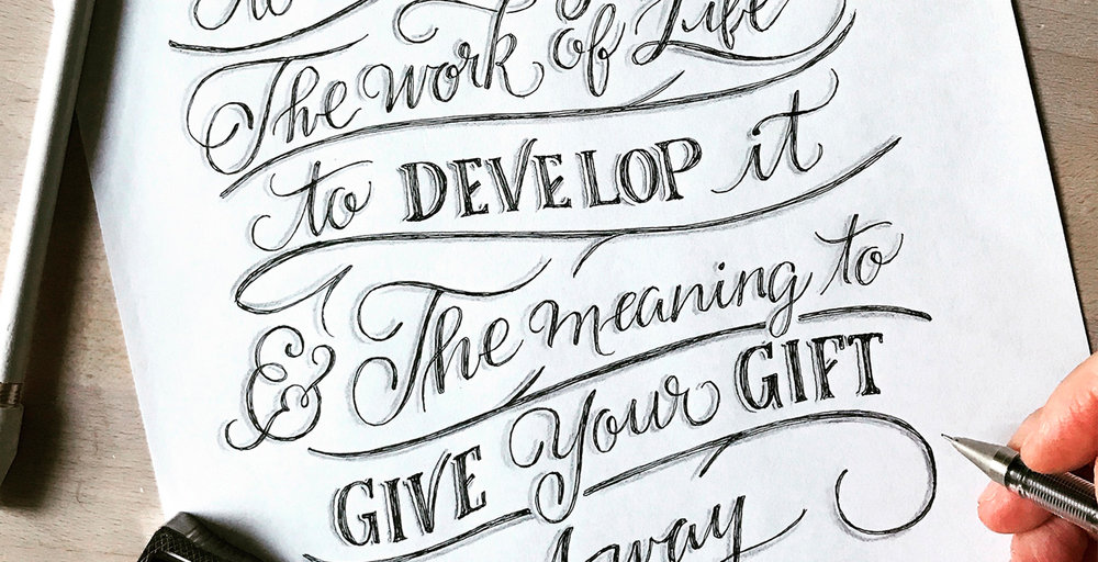 Purpose Of Life Inspirational Hand Lettered Quote Wall Art