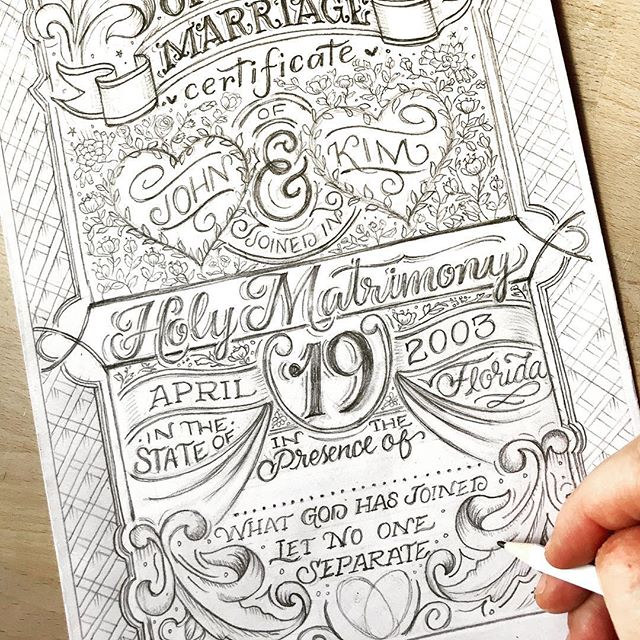 I'm kinda going all in over here on this marriage certificate. Pencil whippin the details. 😜✏️ 💫 - - Created with my 👉🏼✋🏼🤚🏼 And my trusty ✏️