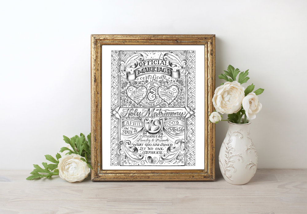 Marriage Certificate Kim Panella Hand Lettering And Illustration