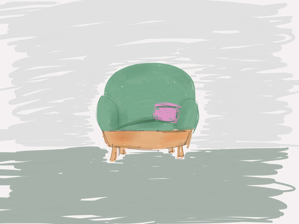 basket sofa sketch