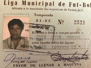 My Father's Soccer ID Card from the El Salvador League