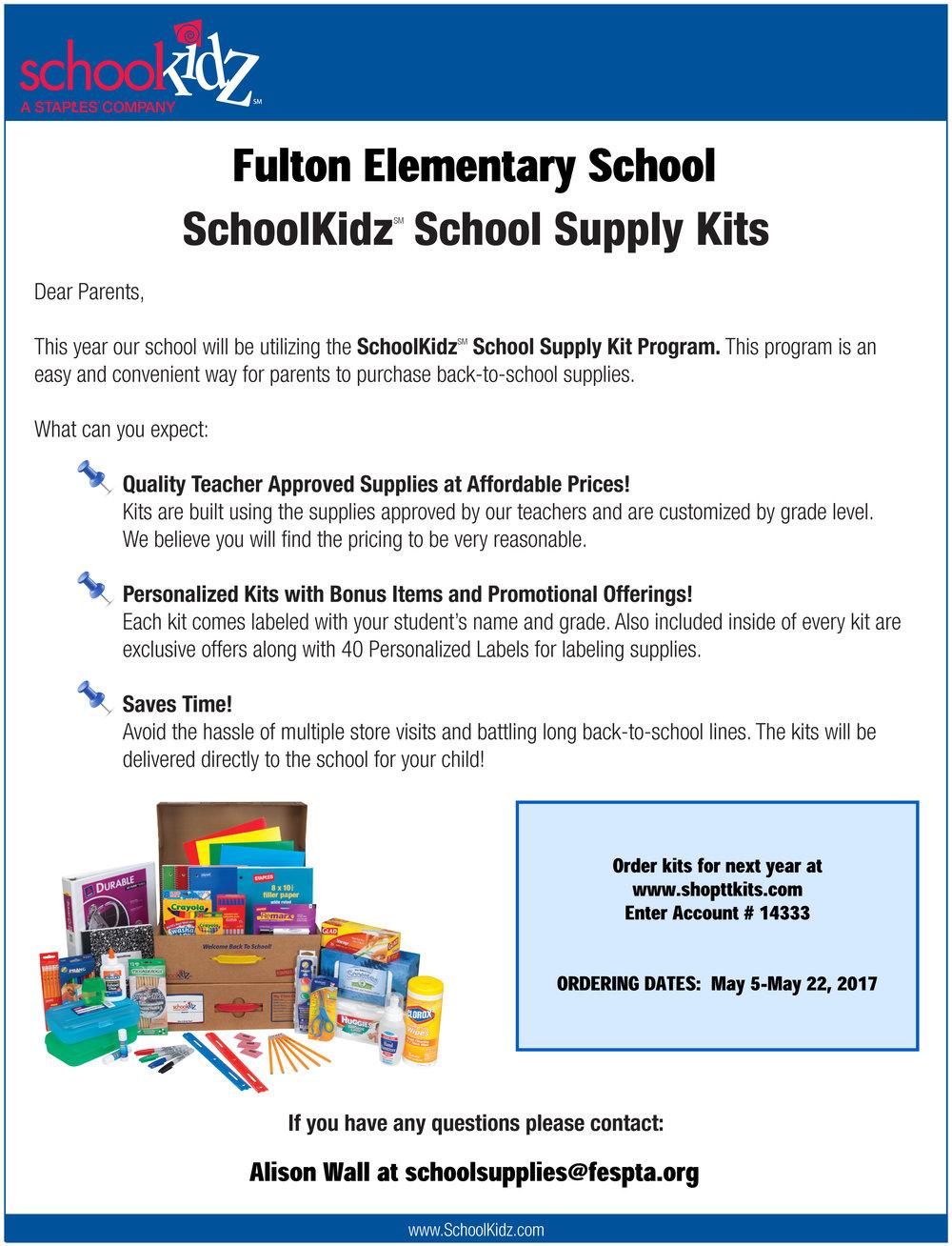School Supply Kits For Sale Fulton Elementary School Pta