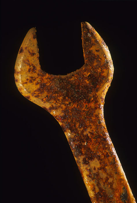 Rust, oxidized metal wrench