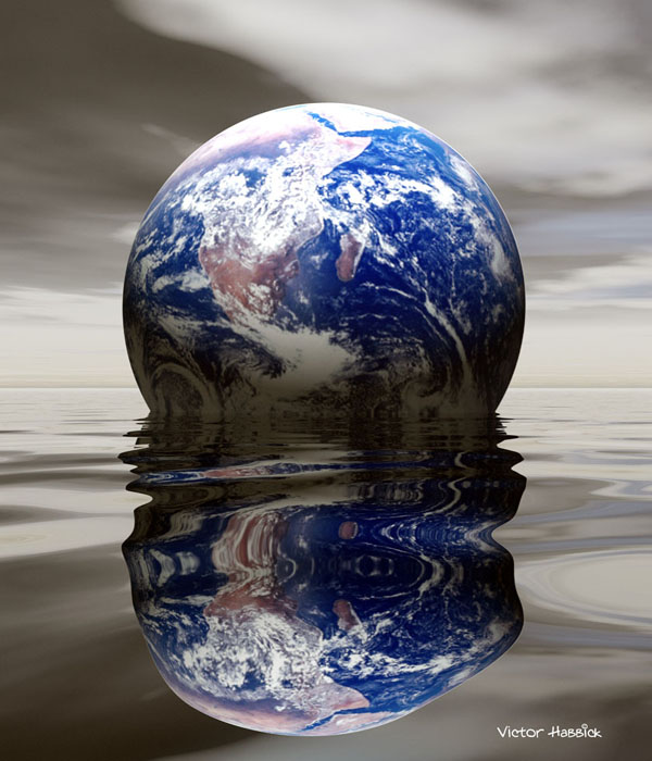 Earth Floating in a Gray Ocean
