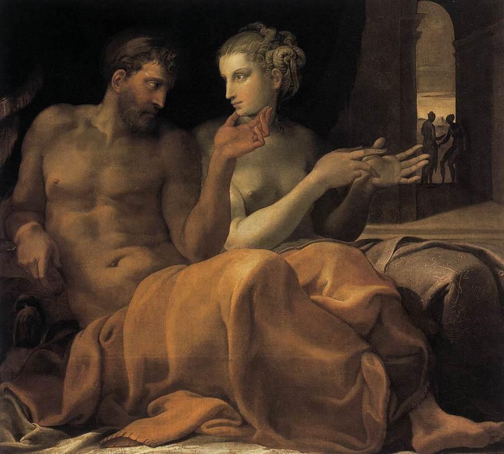 Francesco Primaticcio, Ulysses and Penelope,Oil on canvas, ca. 1560