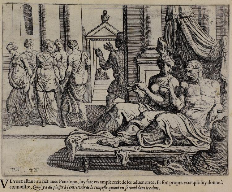 Theodoor van Thulden, copy after Primaticcio, The Works of Ulysses: Lying in Bed, Ulysses Tells of His Adventures