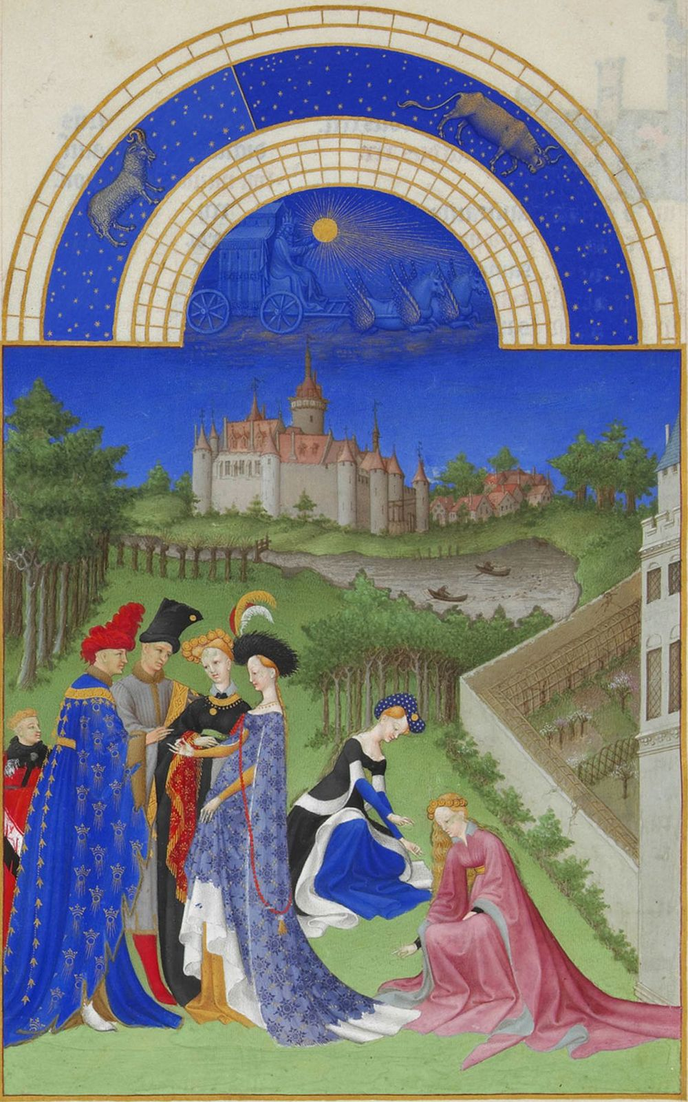 Limbourg Brothers,   The Tres Riches Heures of Jean De Berry, Calendar: The Month of April,   Ink on vellum, 1413-1416