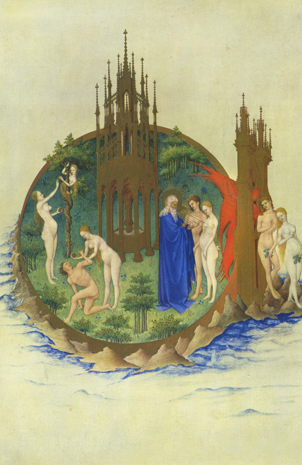 Limbourg Brothers,  The Tres Riches Heures of Jean De Berry, The Temptation and the Fall,  Ink on vellum, 1413-1416