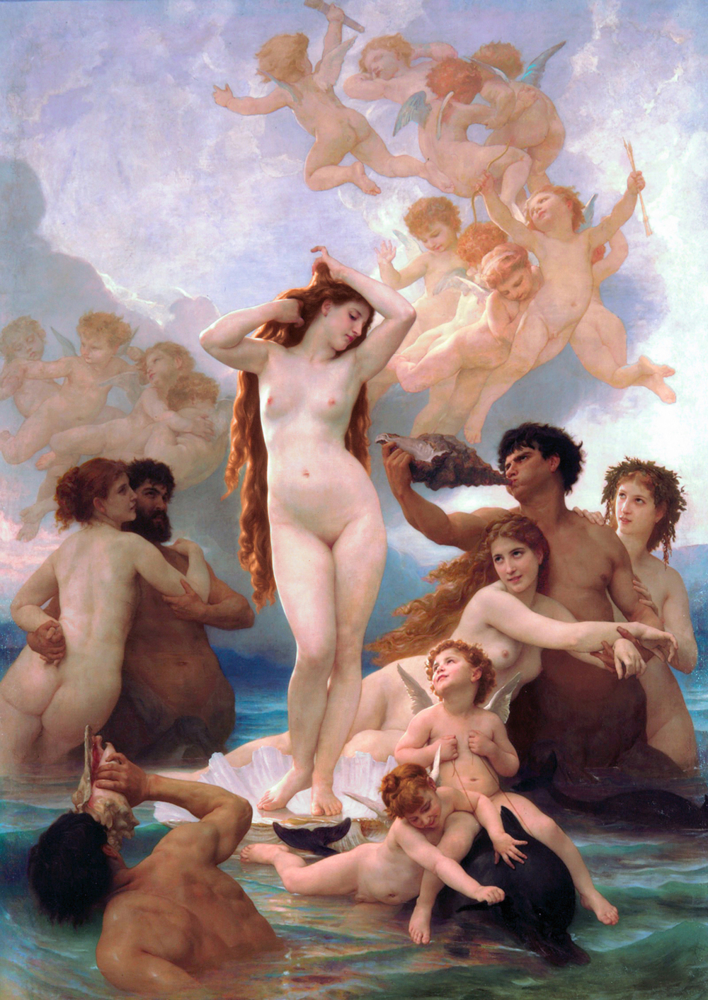 Adolphe-William Bouguereau,  The Birth of Venus,  Oil on Canvas, 1879
