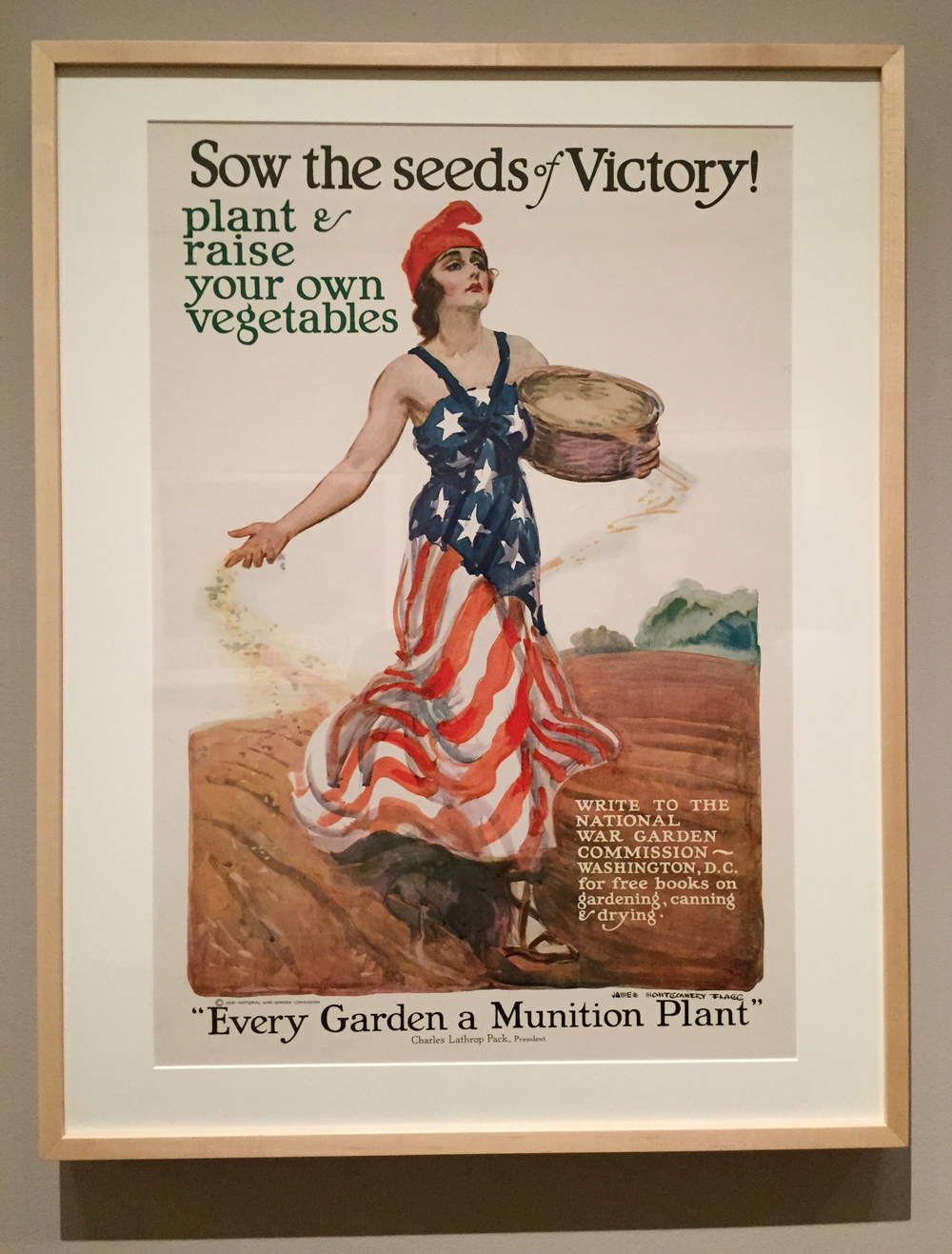 James Montgomery Flagg,  Sow the Seeds of Victory! - Plant and Raise Your Own Vegetables,  Color Lithograph, 1918