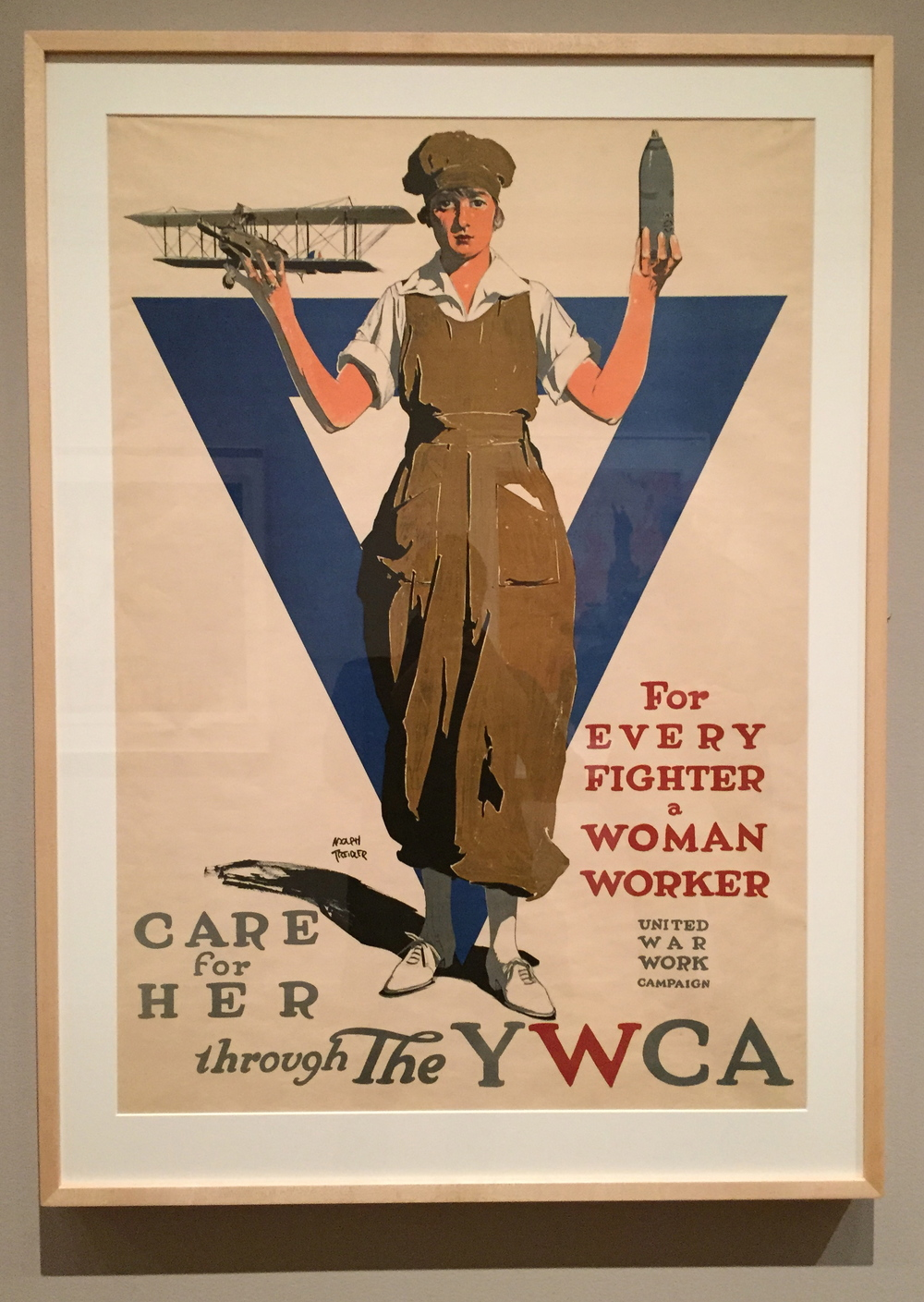 Adolph Treidler,  For Every Fighter a Woman Worker - United War Work Campaign - Care for Her through the YWCA, Color Lithograph, 1918