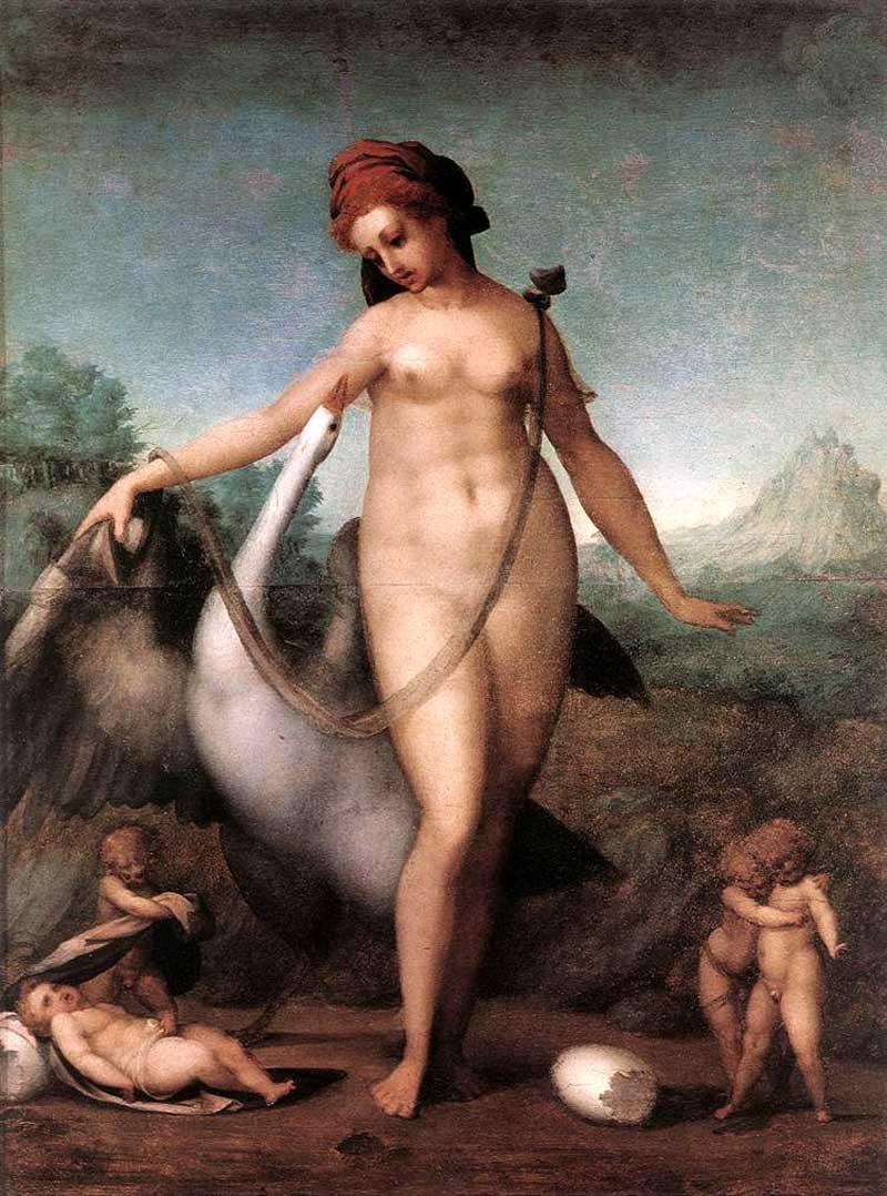 Jacopo Pontormo,Leda and the Swan,Tempera on wood, 1512-1513