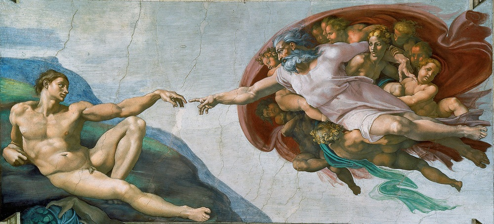 Michelangelo Buonarroti,  The Creation of Adam  (from the Sistine Chapel ceiling), Fresco, 1512