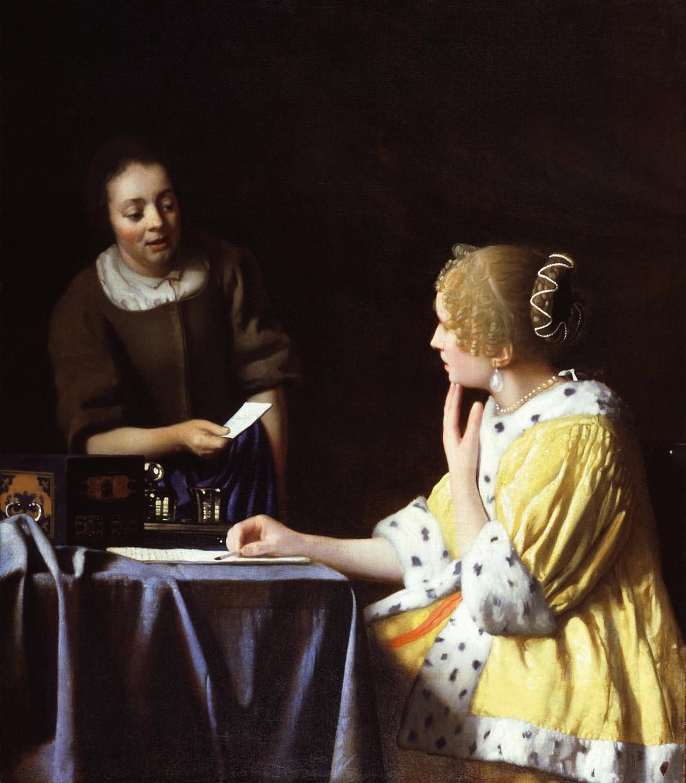 Johannes Vermeer,Mistress and Maid, 1666-67, Oil on canvas