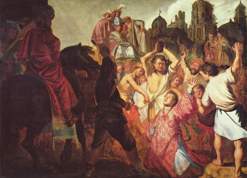 Rembrandt van Rijn,  The Stoning of Saint Stephen,  1625, Oil on canvas
