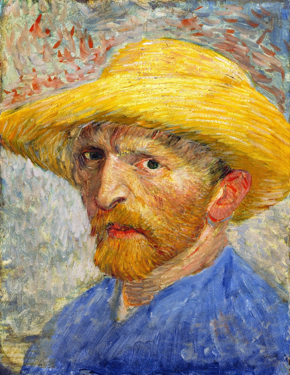 Vincent Van Gogh,  Self-Portrait with Straw Hat,  1887, Oil on cardboard