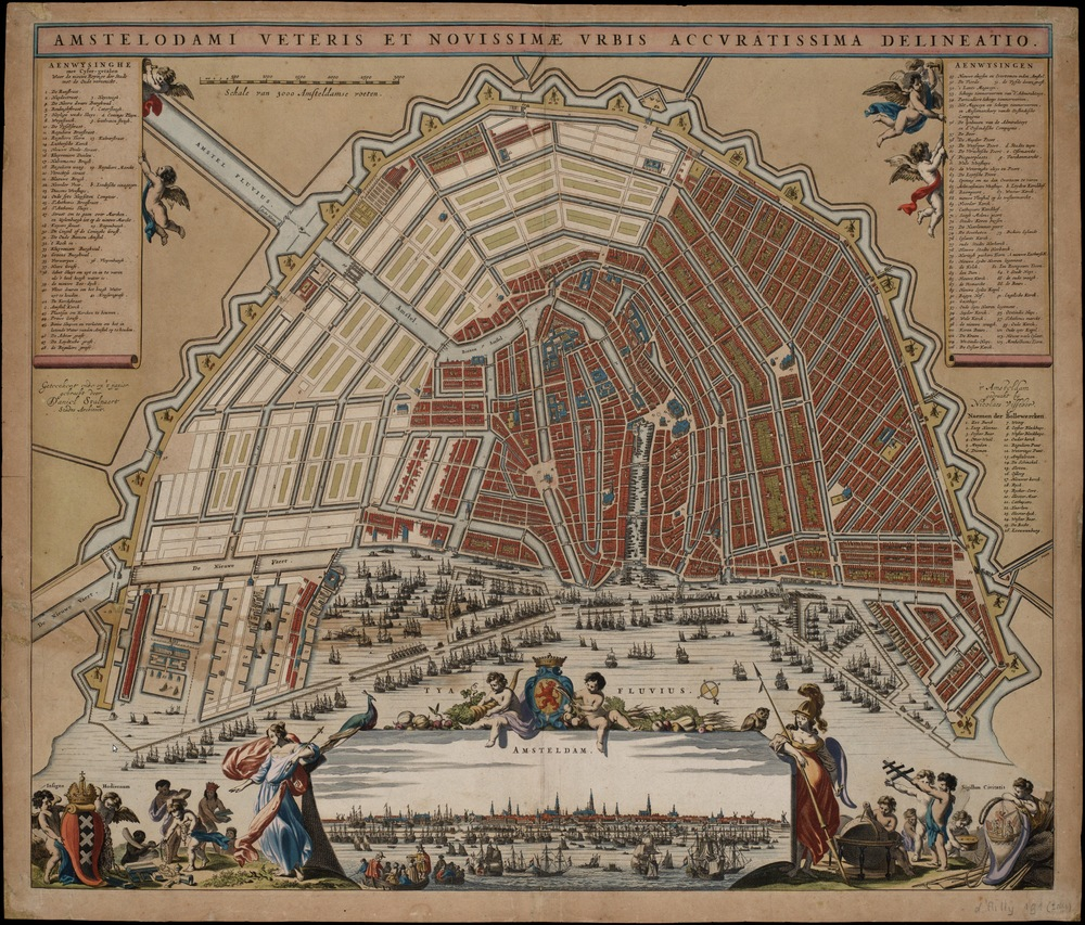A map of Amsterdam with its canals from 1662