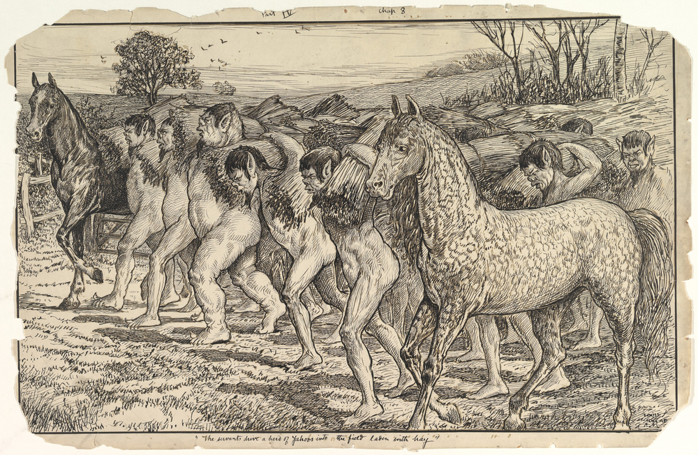 Louis John Rhead, The Servants Drive a Herd of Yahoos into the Field, late 19th - early 20th century, Pen and ink