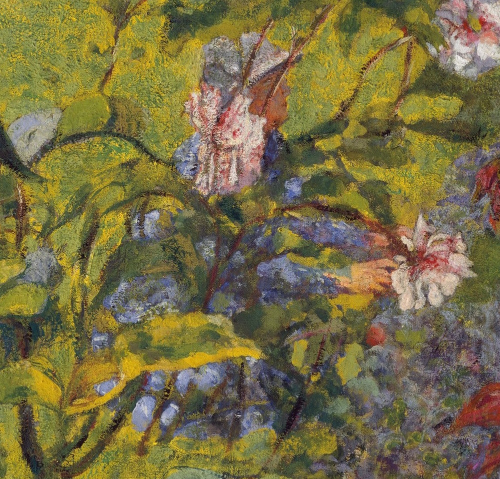 Edouard Vuillard, detail from  Garden at Vaucresson,  1920, Distemper on canvas