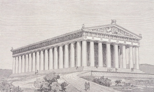 Thiersch,  Reconstruction of the Parthenon in Athens at the time of Pericles,  19th century, Engraving